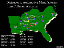 Distance to Automotive Manufacturers from Cullman, AL